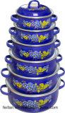 Decklack-Kasserolle mit dem Colofull Dekor, Set 3, 5set, 6set oder 7 gesetzt, mit Decklack-Kappe oder Glas-Kappe