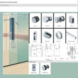 Оборудование двери ливня системы Frameless раздвижной двери