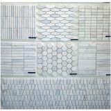 El azulejo de mosaico de mármol blanco del mármol de la linterna de Carrara para el cuarto de baño