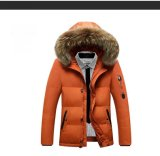 Moda masculina Wind-Proof Quilted Fur-Hoody Casual Jacket almofadado