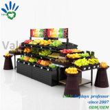 Хранение пола стеллажа для выставки товаров фрукт и овощ супермаркета стоящее стоит полка