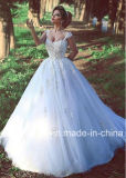 Robe de mariage nuptiale arabe de Tulle de mariage de lacet sans manche de robe W15212