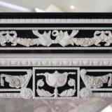 Mensola del camino di marmo in bianco e nero T-6564 del camino