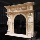 Élaborer une cheminée en marbre sculpté à la main dans égyptienne de Mantel jaune avec de grandes statues de sexe masculin