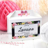 Medianoche Floral Blanco Party Baby Shower Gracias Caja de regalo