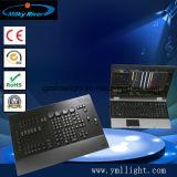 Grande Ma2 sull'ala di comando del PC e sull'ala del Fader con i videi dello schermo di tocco ed il CPU tutti in una sezione comandi