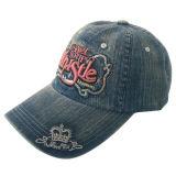 Gorra de béisbol lavada venta caliente de los pantalones vaqueros con la insignia Gjwdjs13