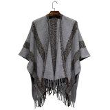 女性の方法しまのあるアクリルの編まれた冬のフリンジによって編まれるショール(YKY4494)