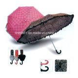 [190ت] [بونج] مع شريط [بو] جلد مقبض يطوي مظلة