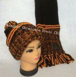 Теплые шлем & шарф с кожаный заплатой (JYB346)