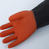 Guantes de goma industriales de la seguridad del Workwear de los guantes del color negro y rojo
