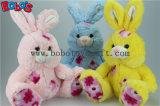 """9.5 """" 꽃 직물 패치 Bos1145를 가진 가장 연약한 분홍색 채워진 토끼 견면 벨벳 장난감"""