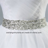 Vestido de casamento frisado do cristal formal Strapless do diamante