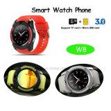 El reloj elegante de Bluetooth de la promoción con la ranura para tarjeta y Mutiple de SIM funciona (W8)