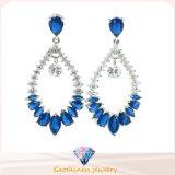 高品質の方法宝石類の青は着色するロジウム板状結晶水低下イヤリングの銀の宝石類(E6404)を