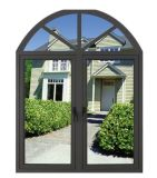 Lastre di vetro del doppio di disegno della griglia incurvate parte superiore che aprono la finestra di alluminio della stoffa per tendine