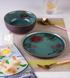 Disegno di stampa della mano degli articoli della pietra dell'insieme di pranzo dei piatti delle ciotole