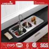 Edelstahl Double Bowl Kitchen Sink mit Drain Board