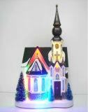 Plastiksankt-Werkstatt des Weihnachtsdekoration-Harz-7 '' mit LED und Fliegen-Ren auf die Oberseite der Dächer
