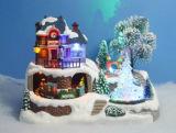 """LEIDENE van Kerstmis van de hars Decoratie 11 de """" Scène van het Dorp met Vliegend Rendier, 3 Liederen van Kerstmis"""