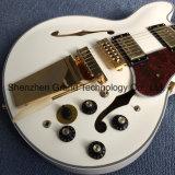 倍のF穴白(TJ-79)の空ボディジャズエレキギターの黒檀のFretboardのTremoloシステム