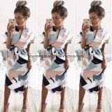 Sommer-Art-Kleid-beiläufige asymetrische geometrische Drucken-Kurzschluss-Schärpe Knie-Länge Kleid O-Stutzen elegante Frauen-Kleider