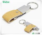 Bastone di cuoio di memoria del USB della parte girevole con la catena chiave (WY-L13)
