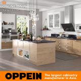 Gabinete de cozinha padrão moderno do PVC de Oppein com console (OP17-PVC04)