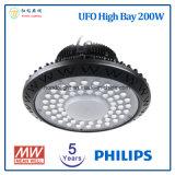 フィリップスLEDチップおよびMeanwellの電源が付いている高い湾LEDライト5年の保証200W UFO