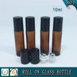 rolo 10ml de vidro ambarino no frasco com o rolo do aço inoxidável