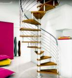 Escaleras espirales de encargo con balaustre del acero inoxidable y la pisada de madera