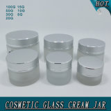Juego completo de Frosted Packaging Aluminium Cap Cosmetic Jar Glass