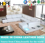 LEDライト(HC1010)が付いている新しい現代ホーム白革のソファー