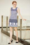 Vestido Sleeveless de Ponte do verão da garganta redonda com impressão da beira em multi testes padrões
