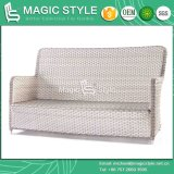 Sofà di vimini del rattan del sofà del rattan del sofà del sofà del sofà stabilito esterno del patio con il sofà di vimini di svago dell'ammortizzatore (STILE MAGICO)