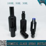 bottiglia di profumo di vetro nera dello spruzzo di 30ml 50ml 100ml con lo spruzzatore nero della foschia
