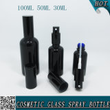 frasco de perfume de vidro preto do pulverizador de 30ml 50ml 100ml com o pulverizador preto da névoa