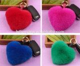Accessorio accessorio della pelliccia del coniglio della pelliccia del cuore del sacchetto di fascino della pelliccia a forma di del coniglio