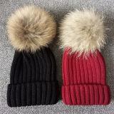 レディース水晶ウールのニットの帽子の毛皮POM POMの帽子