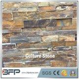 Pierre de culture de bordure empilée rouillée et obscure pour carreaux de mur en pierre d'entrelacement
