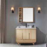 Armário de vaidade de banheiro espelho de madeira sólida clássico (GSP14-022)