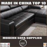 Мебель из натуральной кожи черного цвета при хранении диван-кровать (LZ710)