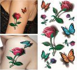 стикеры Tattoo Rose цветка бабочки 3D водоустойчивые временно