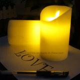 Свечки воска белизны СИД крытого рождества теплые непламенные мелькая