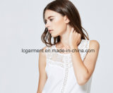 Тельняшка женщин модного безрукавный шнурка верхних частей белого сладостного сексуальная вскользь