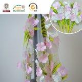 Tela do laço com bordado 3D da alta qualidade, o cor-de-rosa e o verde para o vestuário C10021 das mulheres
