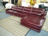Sofà del salone con il sofà di cuoio d'angolo moderno del sofà del cuoio genuino