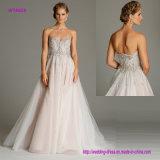 une robe de mariage normale Jeweled encroûtée de Rose Tulle de corsage de taille avec la broderie métallique et en cristal perlée circulant dans la jupe