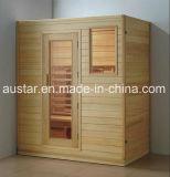 Quarto da sauna da madeira contínua com tamanho personalizado (AT-8617)