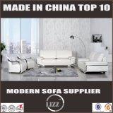Brazo de acero de lujo de color blanco sofá de cuero conjunto